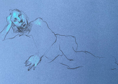 M-J Kelley's drawing of Mike, reclining. Charcoal and pastel on blue paper.