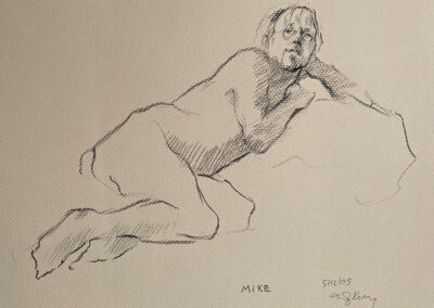 M-J Kelley's drawing of Mike reclining. He is leaning on his left arm. Drawn in May 2005.