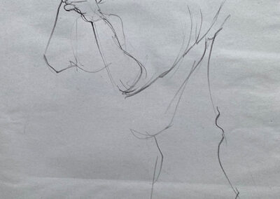 M-J Kelley's drawing of a person with a pole. Charcoal on newsprint.