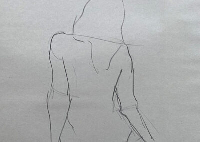 M-J Kelley's quick study of a woman seated with her back to the viewer. Charcoal on newsprint.
