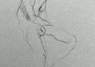M-J Kelley's drawing of a tall thin man who is slumped over. Charcoal on grey Canson paper.