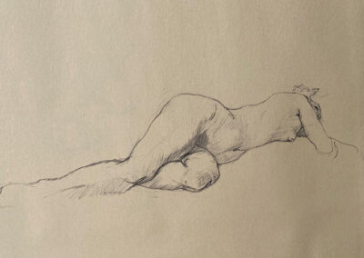 M-J Kelley's charcoal drawing of a figure reclining. Used for water nymph lithographic artwork. Early 1990s.