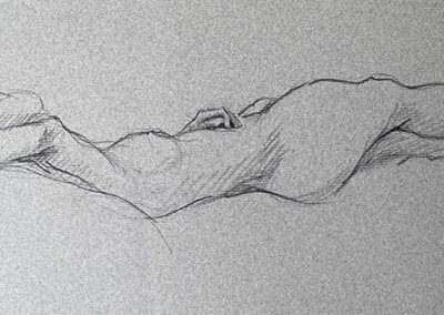 M-J Kelley's drawing of a woman reclining with arm above head. Charcoal on Canson paper. Drawn in 2007.