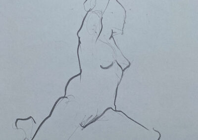 M-J Kelley's one minute gesture drawing of a woman seated on the ground with her arm above her head. Art bent at the elbow behind her head. Drawn on newsprint with charcoal.