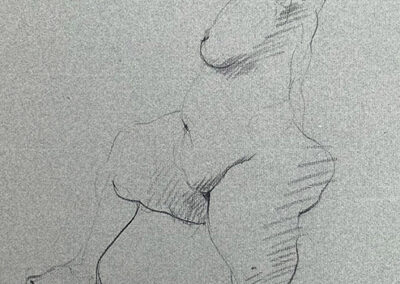 M-J Kelley's drawing of a woman standing with one leg up. Drawn on grey Canson paper with charcoal.