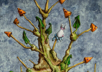 M-J Kelley's surreal painting of a stuffed bunny head on a stick with poison mushroom caps. Gouache on canvas board.