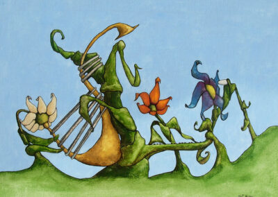 M-J Kelley's surreal painting of The Band. A group of musical flowers. Gouache on canvas board.