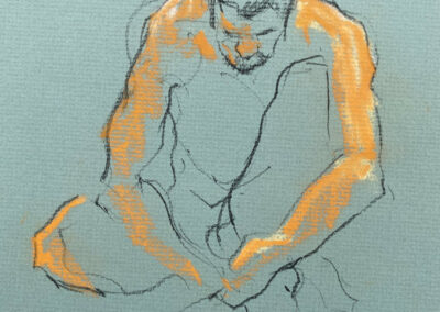 M-J Kelley's drawing of a seated man. Drawn with charcoal pencil and orange pastel on green canson paper.